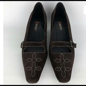 ECCO Mary Jane Pumps Heels Shoes Brown Suede